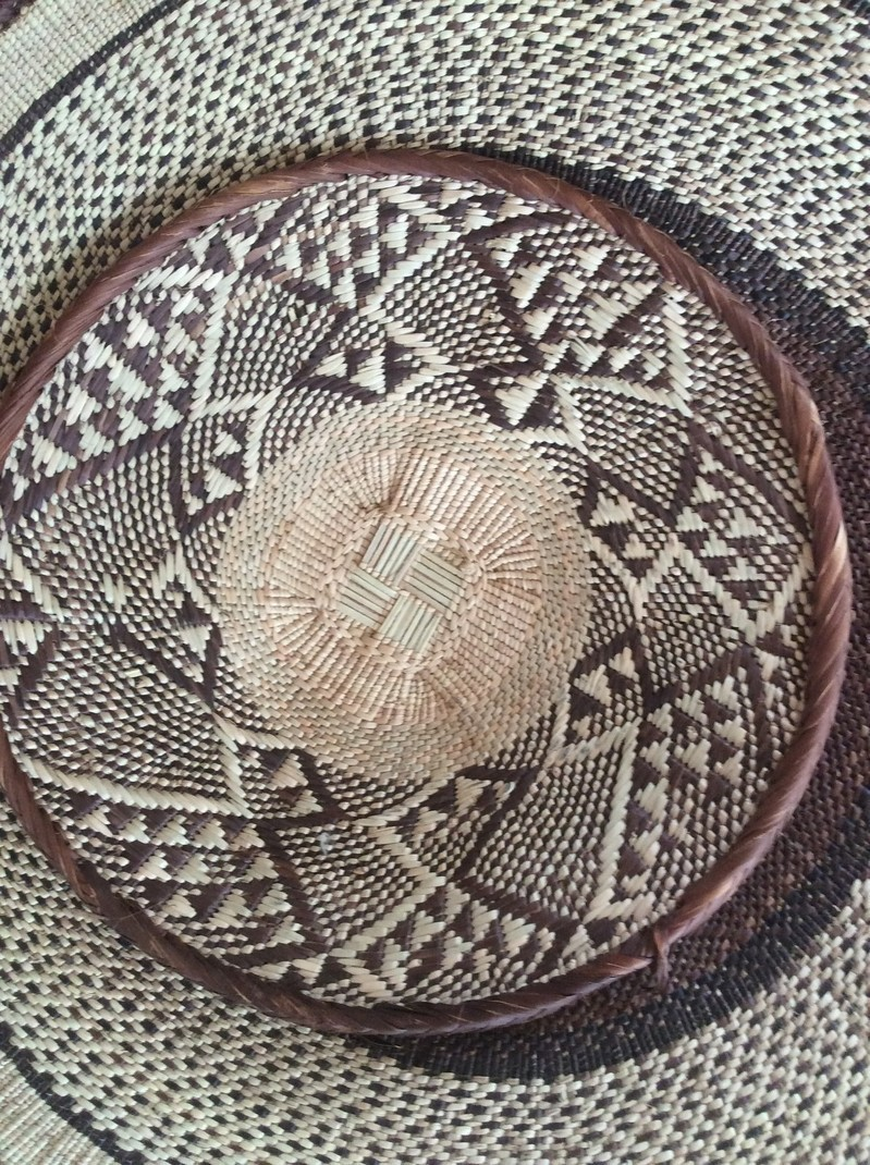 Tenture Africaine Grande Taille binga, déco murale, paniers africains, paniers rwanda, paniers colorés,  grande tenture murale - stickers muraux marron, fibres naturelles
