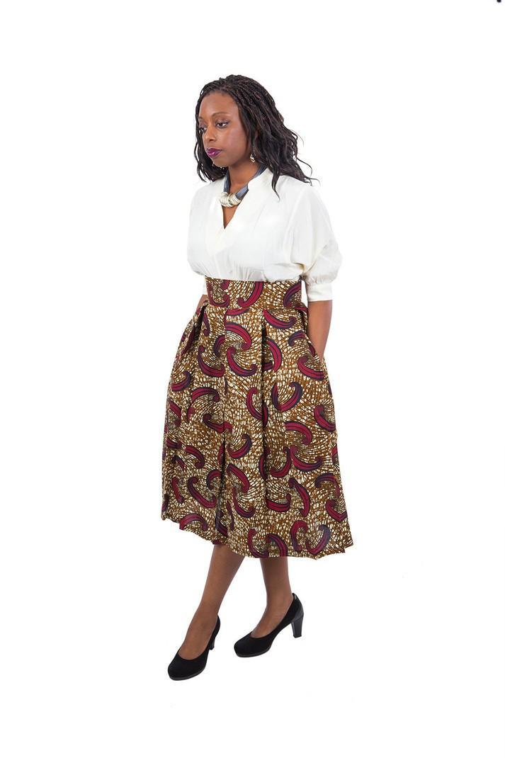 cheap best new arrivals Jupe mi-longue taille haute en wax ( pagne africain ) - Jupes Mi-longues ,  multicolore, aucun, avec une touche de wax, wax, mix imprimé, pour elle, ...