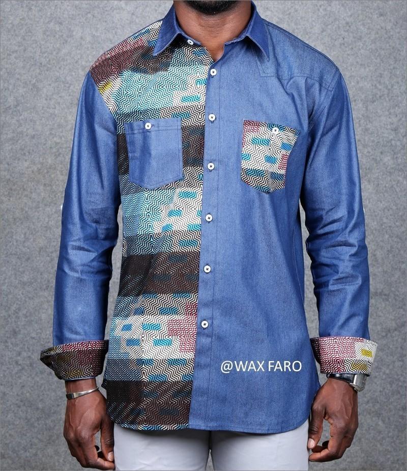 Chemise KUTI par wax-faro - Chemises manches longues Homme - Afrikrea 2d55ae5323a