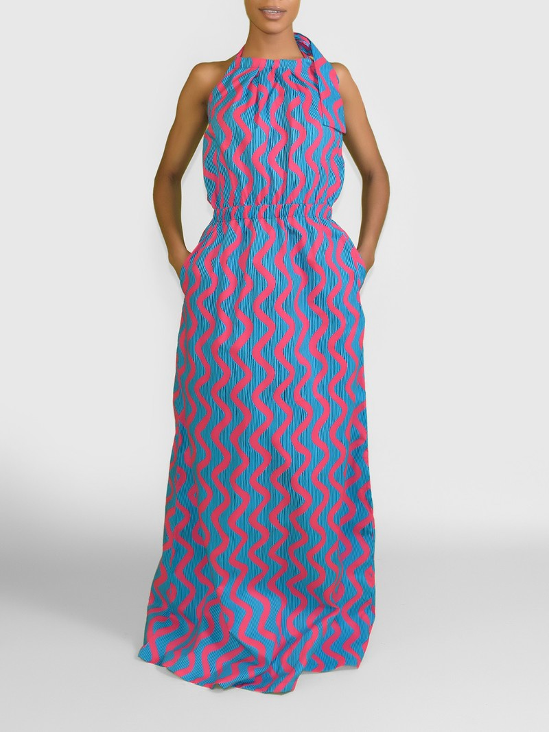 robe longue africaine ankara robe longue robe longue africaine en cire afrikrea. Black Bedroom Furniture Sets. Home Design Ideas