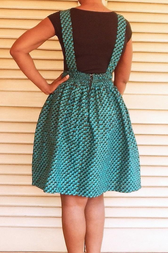 robe salopette courte en imprimé pagne wax par dakrol - Jupes Courtes e - Afrikrea