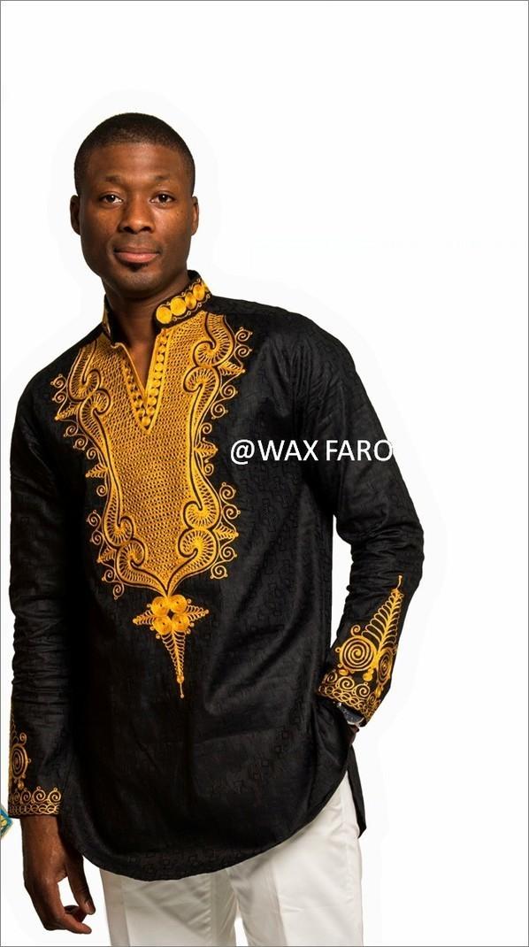 Shaka Tunic By Wax Faro Men S Long Sleeve Shirts Afrikrea