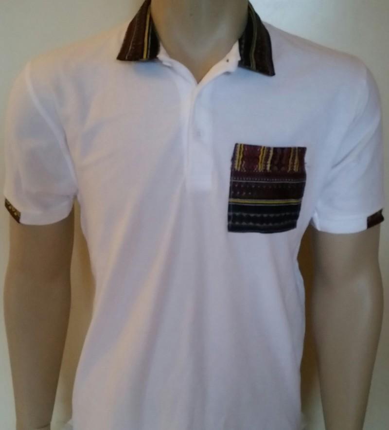 Hommes Dashiki Polo Blanc avec col et poche de poitrine (blanc et ... 0cf336b56475