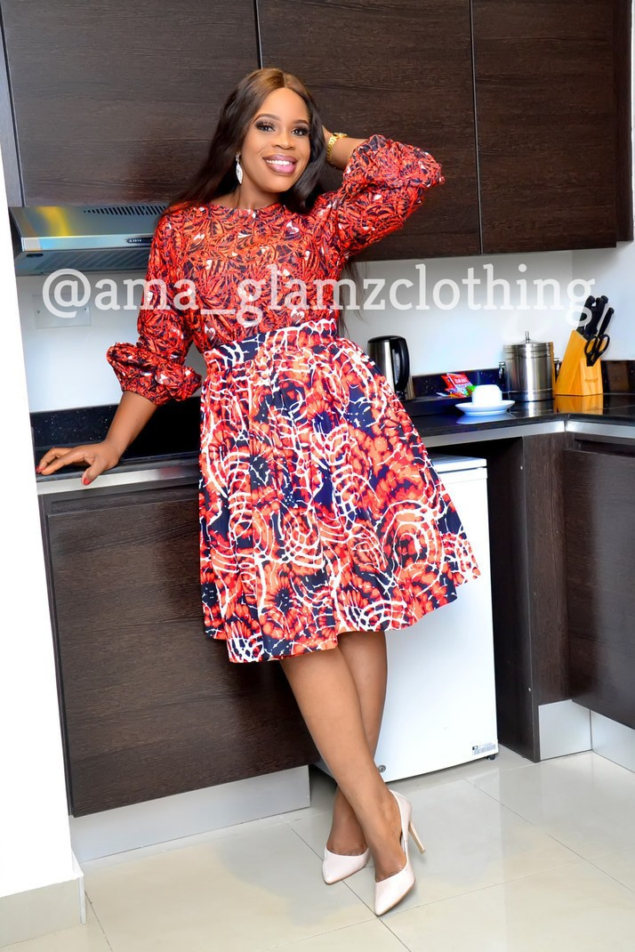 2de91ca5a6 Zina African Print Midi Gathered Skirt by glamzbyama - Mid-length ...