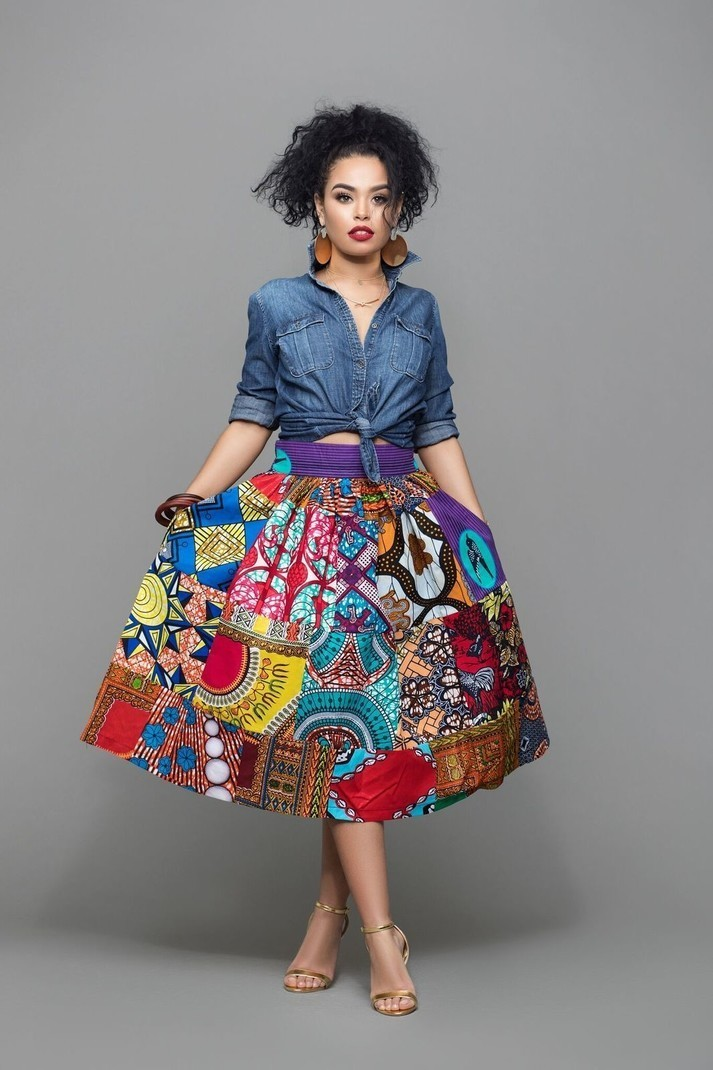 41937afefb African Print Folabi Midi Skirt by grass-fields - Mid-length skirts ...