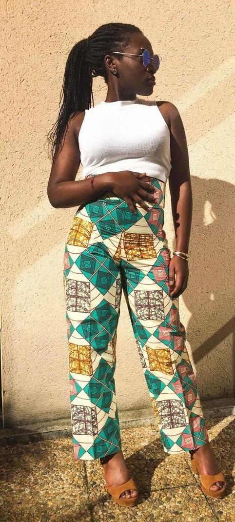 la plus récente technologie paquet à la mode et attrayant apparence élégante Pantalon taille haute beige imprimé wax - Pantalons Femme pantalons taille  haute, beige, , streetwear, avec une touche de wax, wax, pour elle, wax, ...