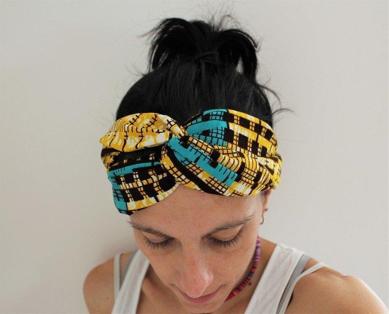 le moins cher artisanat exquis dernières conceptions diversifiées Headband wax, accessoire cheveux, accessoire cheveux femme, headband turban  ethnique - Accessoires Cheveux jaune, pour elle, wax