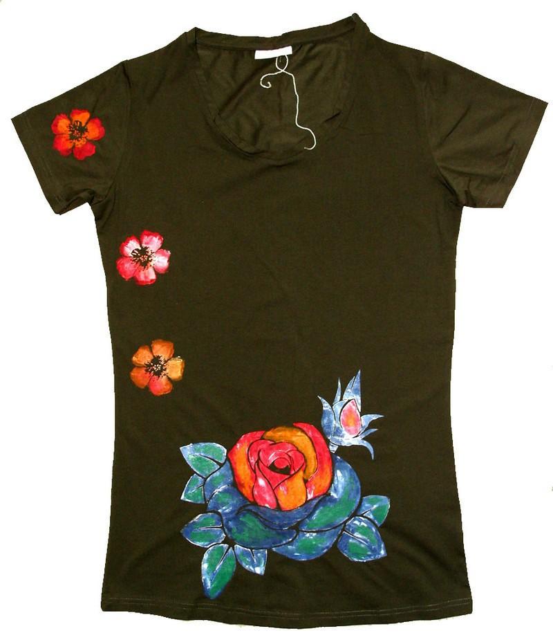 manches femme peint fleurs tropical hibiscus shirt courtes Tee avec lc3uTK1FJ