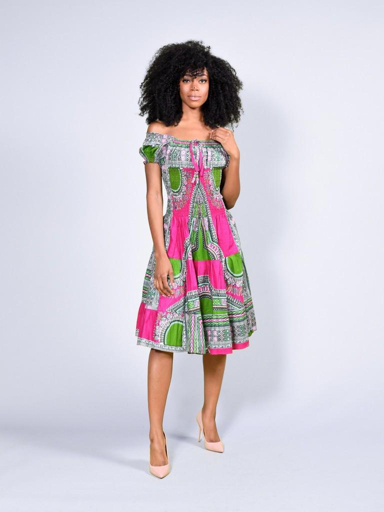 Beaux Courtes AbebaPour RoseLook Dashiki Courte Bohème Afro Robes Robe ElleCotonLes Jours Intégral WaxAddis cA3R54jLqS
