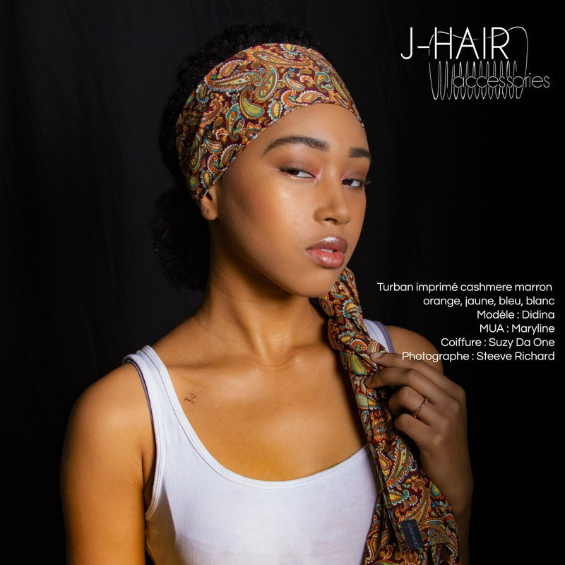 4c7b4f1af989 Turban en tissu imprimé cashmere marron par j-hair-accessories ...