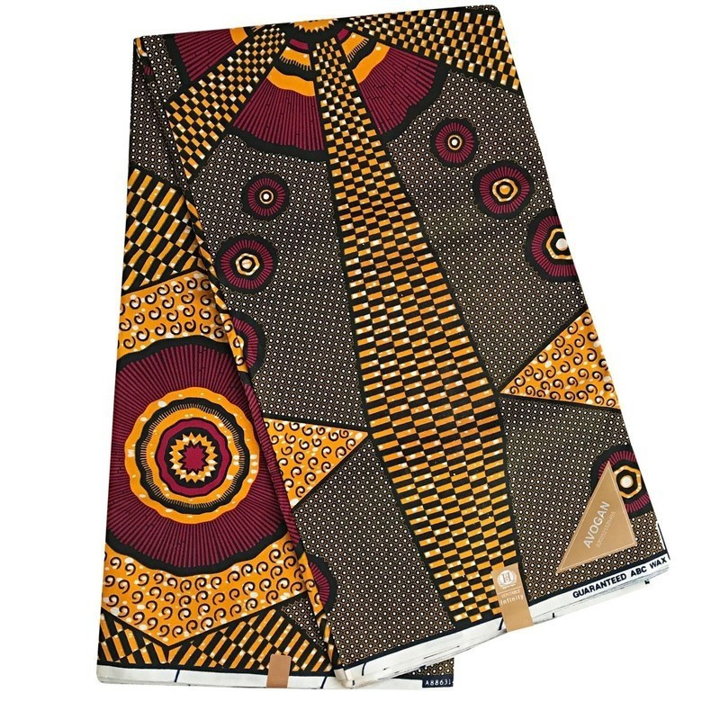 GOLDEN YELLOW RED//African Print Fabric Wax//6 Yards 100/% Cotton//Sewing Clothing